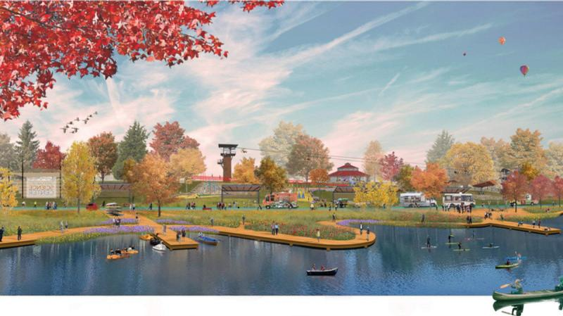 The lake will have a boardwalk around it
