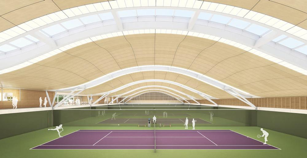 The building's double-curved roof structure will ensure it blends in sensitively with the local area