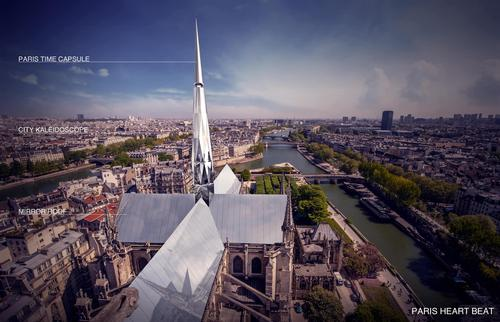 The winning entry, by Zeyu Cai and Sibei Li, includes a time capsule at the top of the spire