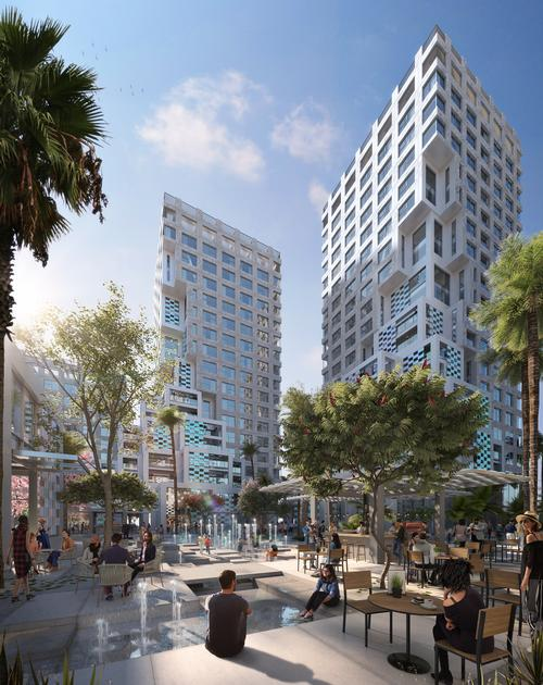 The development is based on seven compact mid-rise towers