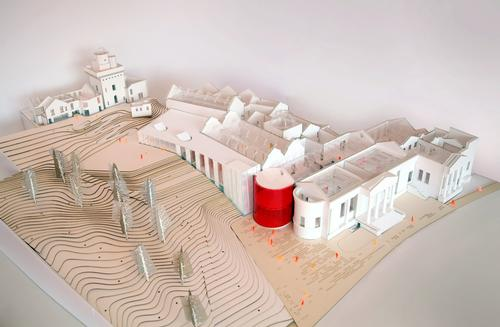 A model showing an aerial view of the entire museum / Renfrewshire Council/AL_A
