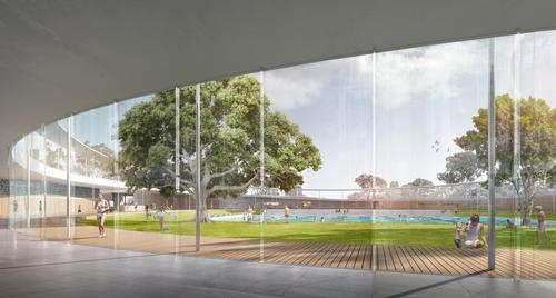 The design includes outdoor decking, green areas and trees that will provide shade / Andrew Burges, Grimshaw and McGregor Coxall