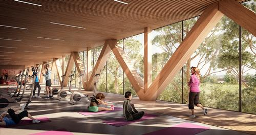 The curved building will house a fitness centre / Andrew Burges, Grimshaw and McGregor Coxall