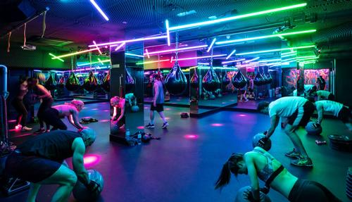 The studio combines features from entertainment venues with state-of-the-art gym equipment
