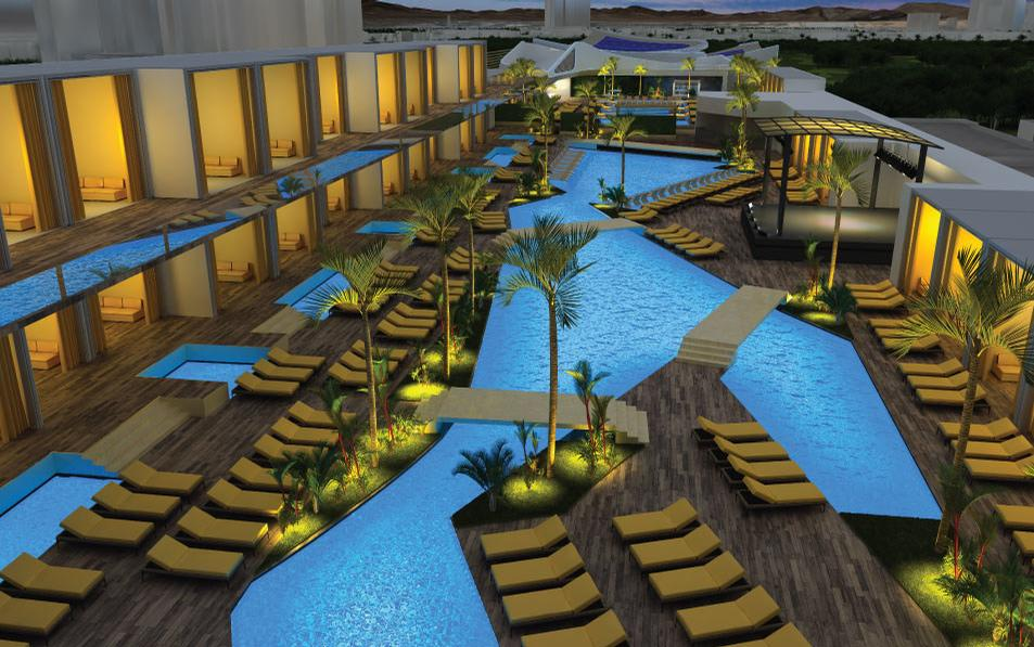 The resort will include a lushly landscaped pool area with 50 cabanas, and an area for live entertainment
