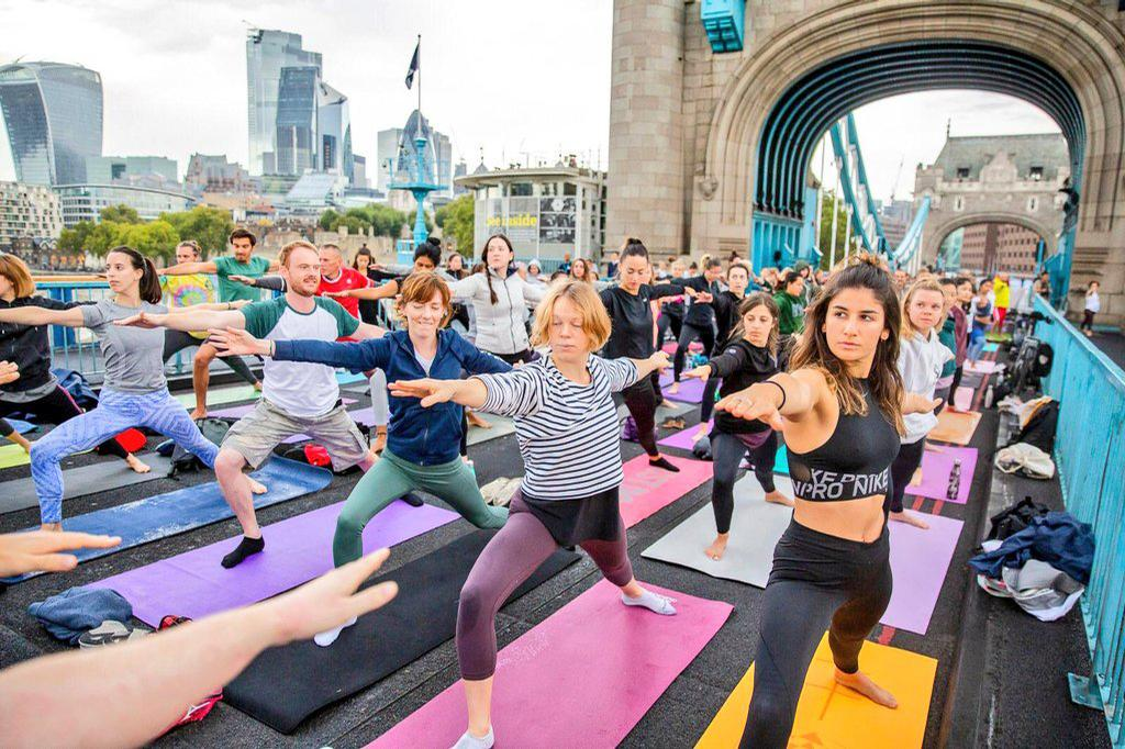 On Tower Bridge, the usual traffic was replaced by a group yoga and meditation sessions and classic cycle rides