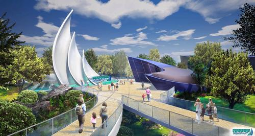 The aquarium will have 80,000sq ft of exhibit space, connected by landscaped walkways