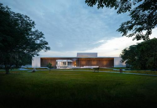 The design integrates the existing 12,000sq ft (1,100sq m) museum building / Brooks + Scarpa & KMF Architects