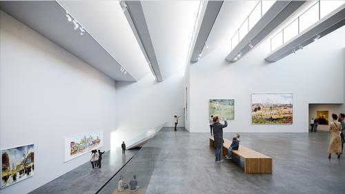 Windows in the roof allow natural light in / Brooks + Scarpa & KMF Architects
