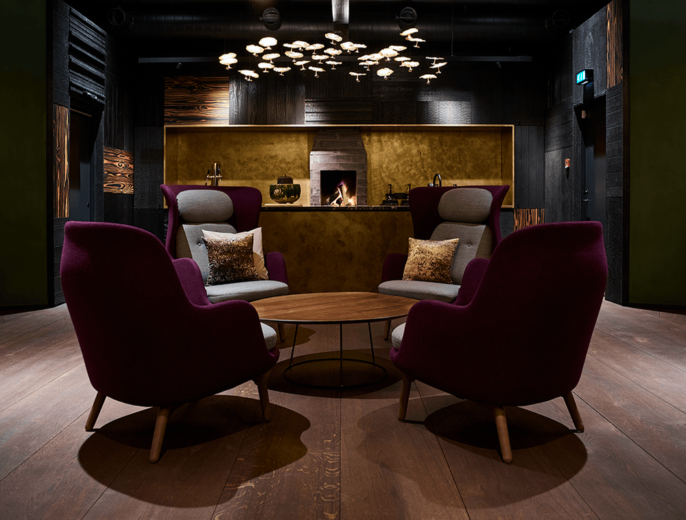 A final lounge space has an open fire and a tea bar / Bech Poulsen
