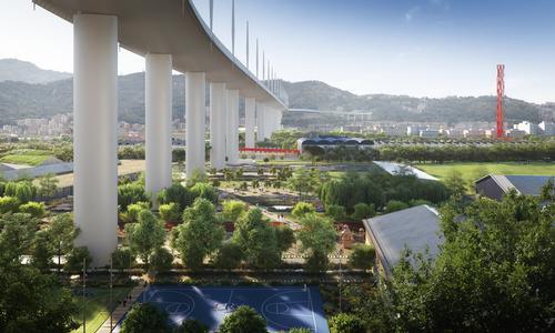 Polcevera Park, designed by Inside Outside, will run under the new Morandi Bridge / The Big Picture