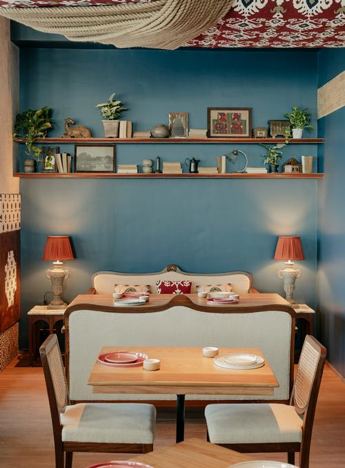 Brighter contrasting highlights, like Prussian blue and wine red, give a sense of earthy eclecticism / Darshan Savla