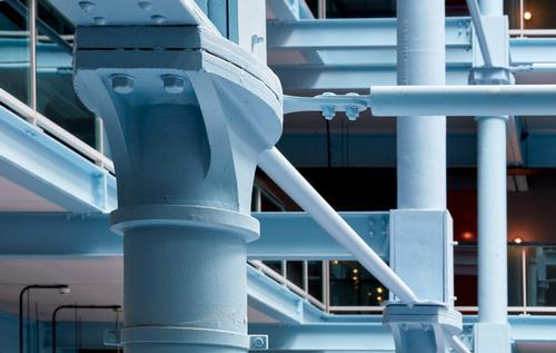The wrought iron frame retains its distinctive original powder-blue colour / Native