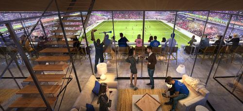 Hospitality sections appear to feature on all sides of the pitch / Inter Miami CF