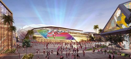 There are big screens built into the exterior façade that could be used for events or showing games to people outside the ground / Inter Miami CF
