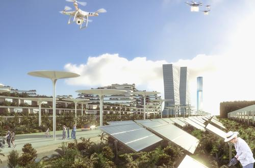 The city will be surrounded by a ring of solar panels for providing power / Stefano Boeri Architetti
