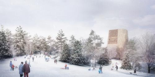 On snowy days, the Great Lawn becomes a sledding hill with a backdrop of the museum building to the north / The Obama Presidential Center