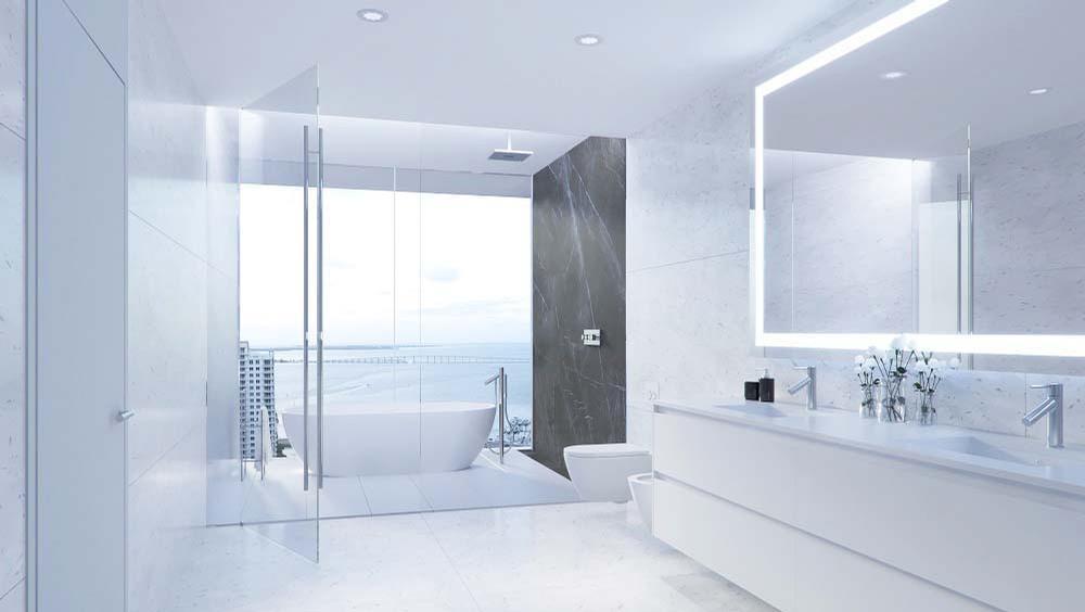 Bathrooms feature European cabinetry and premium marble flooring / Aston Martin