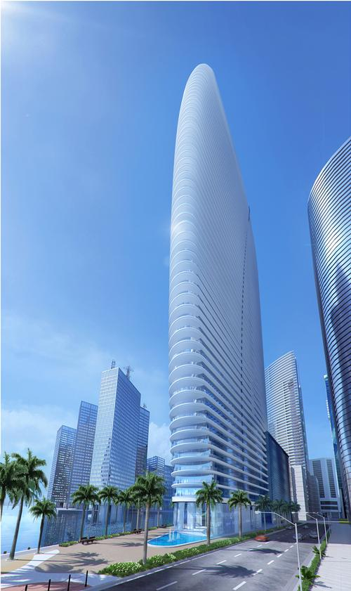 The building has a curved and slender form / Aston Martin