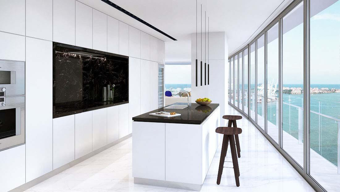 Kitchens have been designed to be spacious and bright / Aston Martin