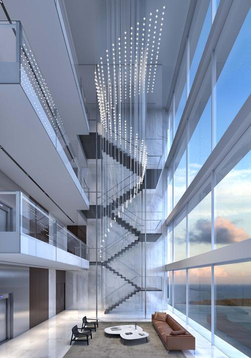 Large lobby windows will provide views out over the water / Aston Martin