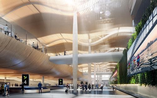 Lighting and curved timber ceilings will be used to help make wayfinding intuitive and unstressful / Zaha Hadid Architects / Cox Architecture