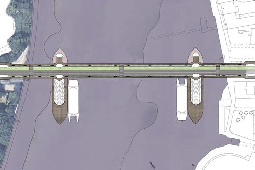 Cycle lanes running down the centre of the bridge with pedestrian paths along either side / The Manser Practice