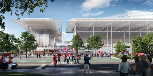 The stadium has been designed to fit in with the architectural vernacular of the local area / HOK