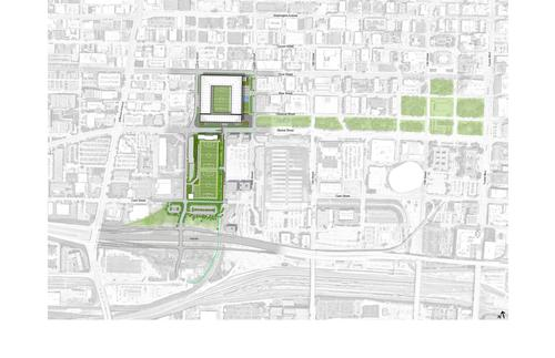 Site plans show the extent of the development / HOK