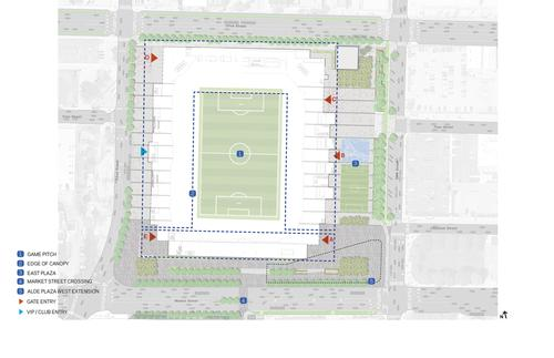Steeply raked seating will ensure that all fans are within 120ft (37m) of the pitch / HOK