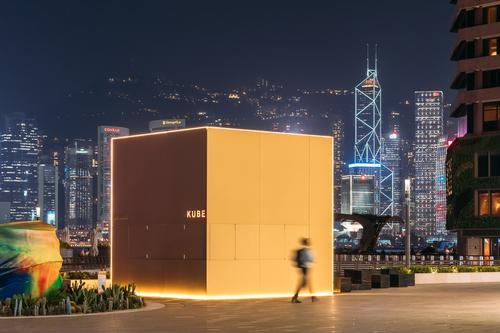 At night the kiosk can be shut but illuminated / Kevin Mak
