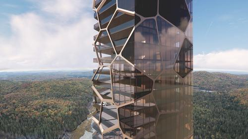 A parametrically-designed glass façade has irregularly toned panels / MU Architecture
