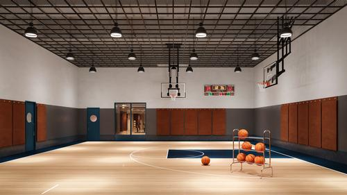 There is a double-height basketball half-court in the Tower / Noe & Associates / The Boundary
