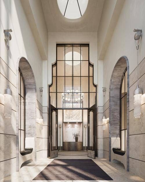 The vestibule has a skylight that allows natural light into the space / Noe & Associates / The Boundary