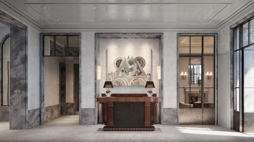 An ornate lobby welcomes people into Beckford House / Noe & Associates / The Boundary