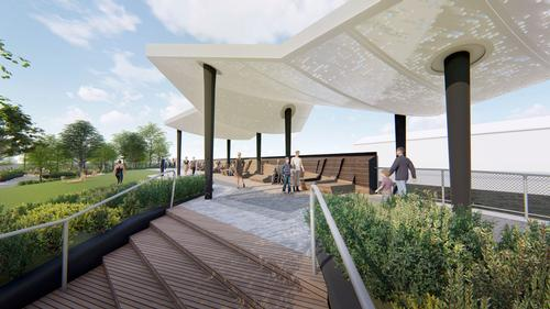 An elevated belvedere will provide river views / !melk / Hudson River Park Trust