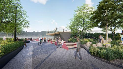 There will be a children's play area, water play features and an all-ages slide / !melk / Hudson River Park Trust