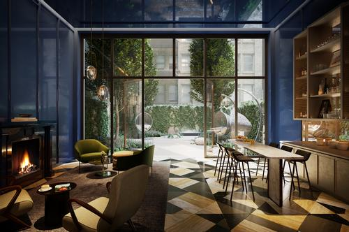 The Blue Room lobby bar encompasses a hotel-like private lounge / Rockefeller Group