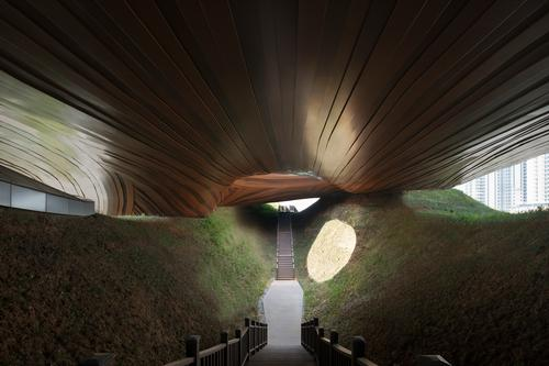 A void underneath the upper volume provides a space for visitors to explore / Xia Zhi