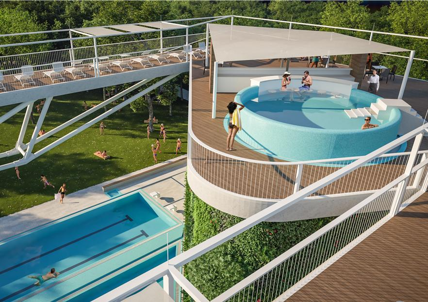 Loungers and spa pools can be found on the 12m (40ft) high sun deck