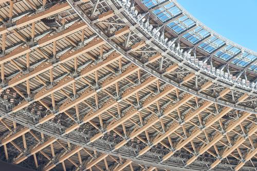 The use of wood can been seen in the stadium's roof