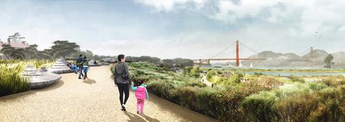 A cliff walk path will have lookout points and views of the Golden Gate Bridge / James Corner Field Operations