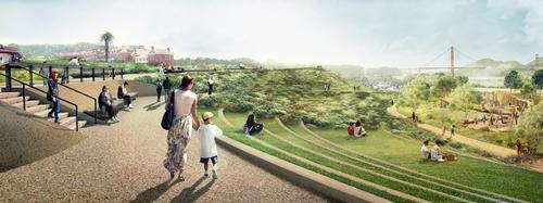 The Presidio Steps will link two areas within the park and provide a place to stop and sit / James Corner Field Operations