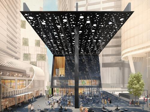 The canopy is designed to filter and refract light through randomly-scattered, mirror-lined perforations / Adjaye Associates