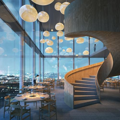Restaurants and bars in the upper four levels of the tower will take advantage of its views / Tham & Videgård Arkitekter