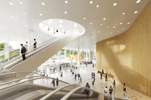 The hotel's lobby and several levels of conference spaces will be housed in the base of the tower / Tham & Videgård Arkitekter