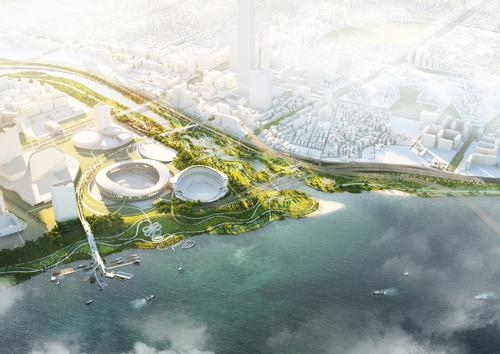 The project covers an area of a 630,000sq m (6,800,000sq ft) / Atchain
