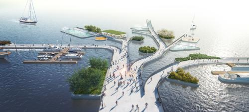 A network of interconnected pedestrian and bicycle paths is planned / MVRDV