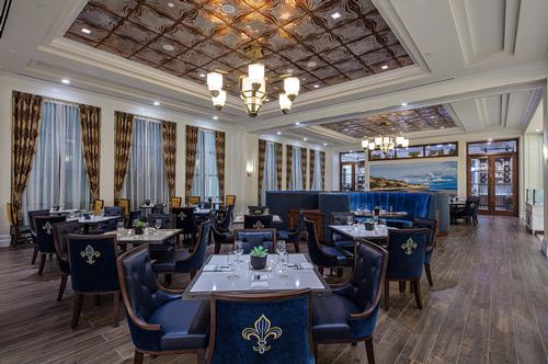 The hotel's food and drink offering includes a French-influenced restaurant / Hilton