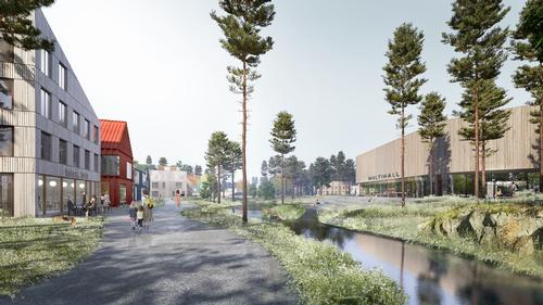 The layout draws inspiration from hill town, forest cluster and eco-village typologies / Mad Arkitekter
